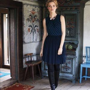 Anthropologie Sasonger Tulle dress with polka dots